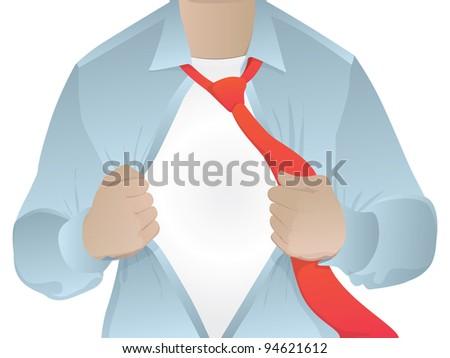 Man opening his shirt/business man revealing his secret identity/vector blank