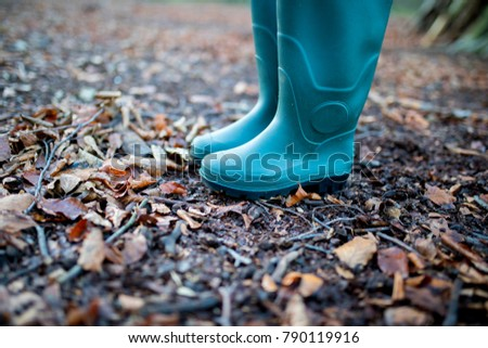 Man or woman wearing a pair of traditional green rubber wellington boots in a forest in autumn with leaves and twigs on the ground