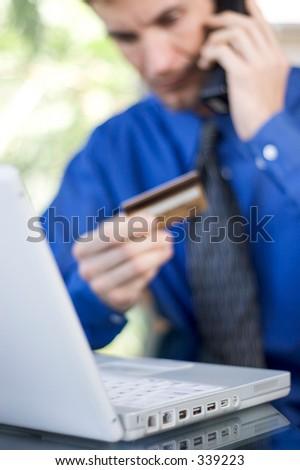 man ordering online