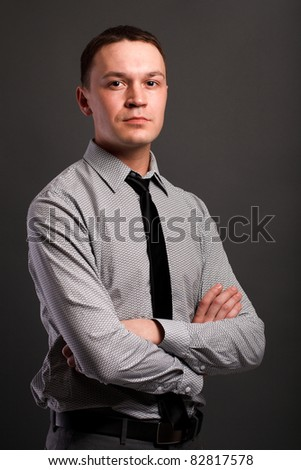 Man over gray background