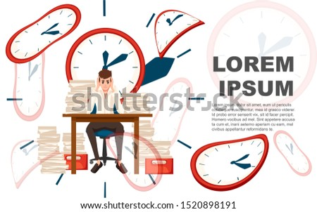 Man overwork in office. Cartoon character design. Worked overtime, tired office worker. Stress of work. Table with paper stacks. Flat illustration on white background with big clock