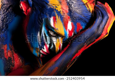 Man painted different colors. Body art colorful. #252403954