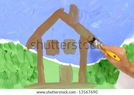 Man painting a scenic house view on a wall (artwork is deliberately messy).
