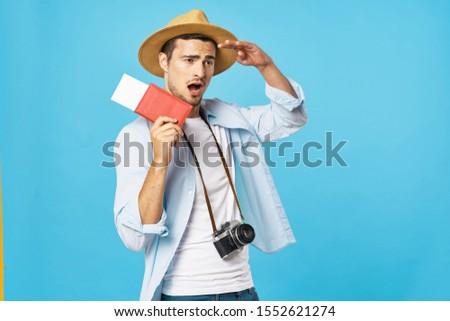 Man pantogram passport plane tickets travel airport lifestyle lifestyle