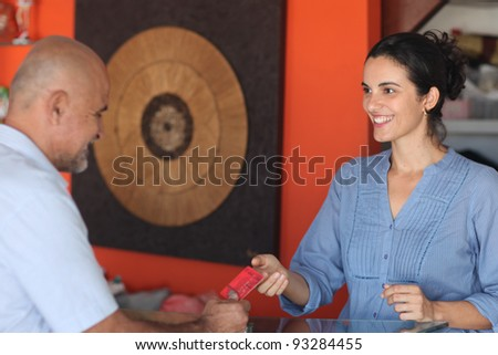 Man paying with credit card