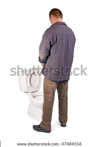 man pee on the toilet