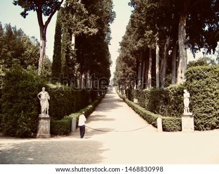 Man peers up the long path to the Boboli Gardens (Giardino di Boboli ) in Florence, Italy (warm) #1468830998