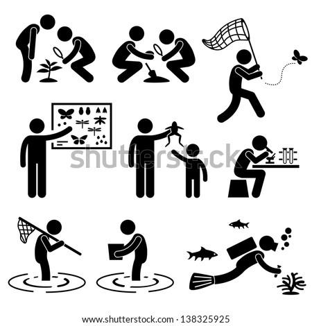 Man People Outdoor Activity Geologist Research Specimen Stick Figure Pictogram Icon
