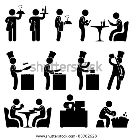Man People Restaurant Waiter Chef Customer Icon Symbol Pictogram