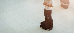 Man people traveling luggage bag he check in by smart phone in air port terminal building