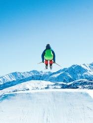 Man performing Ski jump