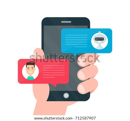 Man person hand chatting on cellphone with chat bot robot.  modern style cartoon character illustration avatar icon design. Chat messages notification on smartphone. Isolated on white background