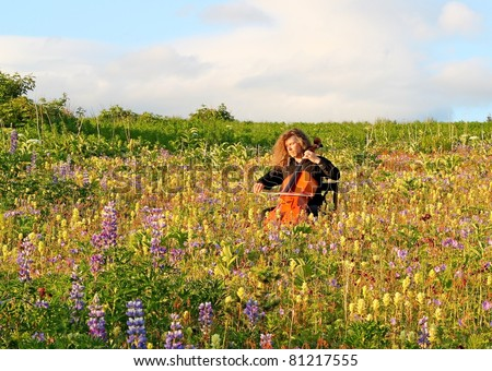 Man playing cello in a field of wildflowers with blue sky and clouds in the background