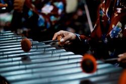 Man Playing Gamelan, Javanese Traditional Music Instrument