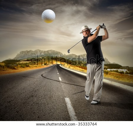 man playing golf on the road