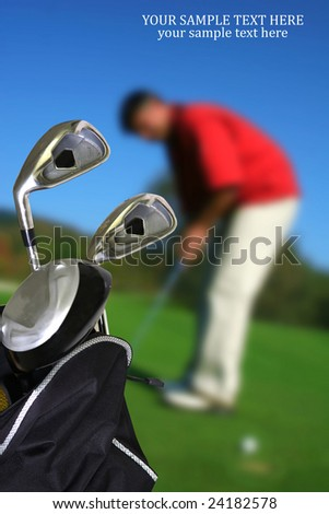 man playing golf  with copyspace