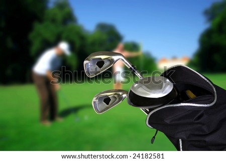man playing golf  with copyspace - stock photo