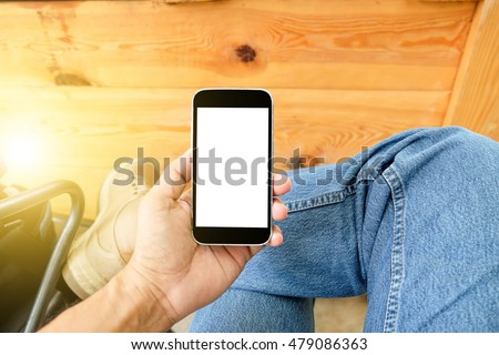 Man playing smart mobile phones with 