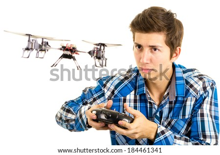 man playing with a quadcopter drone Stock fotó ©