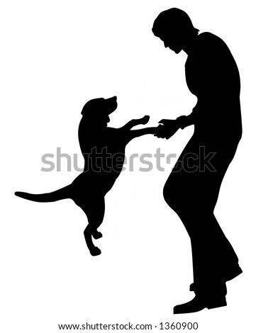 man playing with dog silhouette illustration