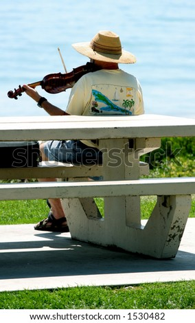 Man plays violin by the ocean.