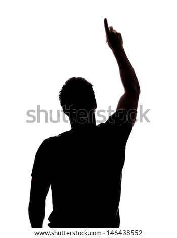 Man pointing at the sky in silhouette isolated over white background  #146438552