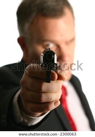 Man Pointing Handgun
