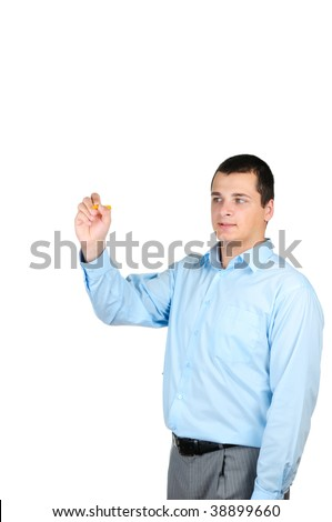 Man pointing  isolated white background