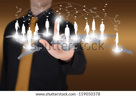 Man pointing to a virtual social network