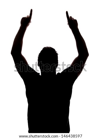 Man pointing up in silhouette isolated over white background
