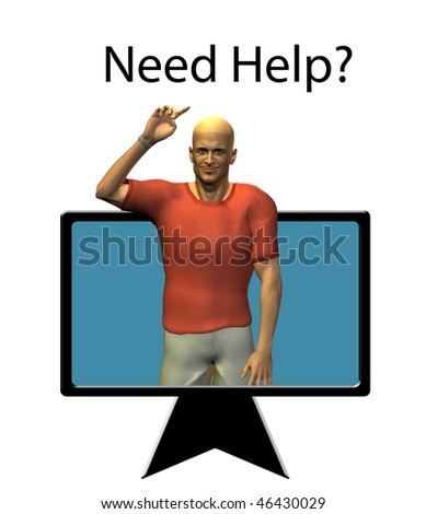 Man points at Need Help text
