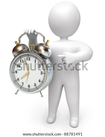 man points to the clock, on a white background, 3d render