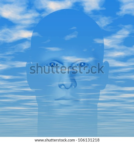 Man portrait against cloudy blue sky. Digitally created 3d illustration. - stock photo