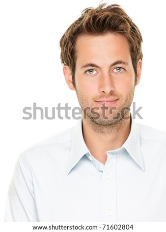 Man portrait. Good looking casual young businessman isolated on white background. Male Caucasian model smiling.