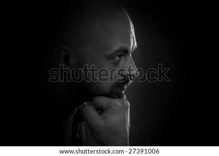 man portrait in dark light