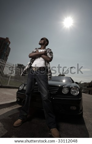 Man posing in an urban setting