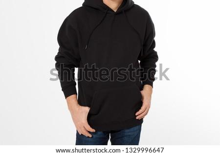 Man posing in black sweatshirt, black hoodies front isolated, mock up cropped image