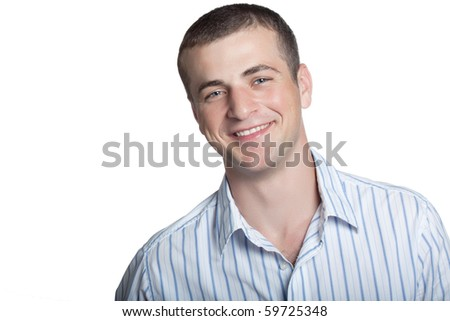 Man posing on a white background - stock photo