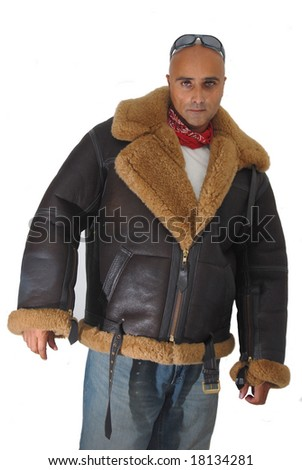 Man posing with a RAF jacket isolated against a white background - stock photo