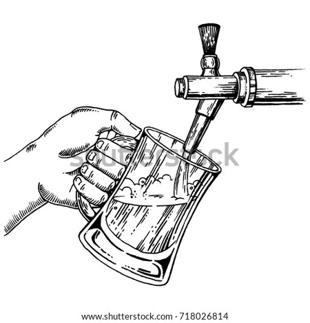 Man pours beer into glass from beer tap engraving raster illustration. Scratch board style imitation. Hand drawn image.