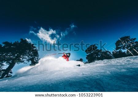 Man practicing Speed Ski Kilometer Launched #1053223901
