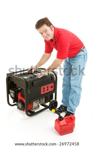 Man preparing to put gas in his portable emergency generator.  Isolated on white.