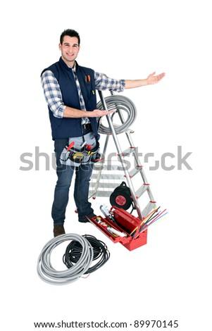 Man presenting his tools
