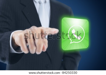 man pressing mobile phone icon ,touch screen button