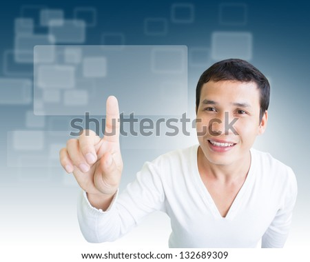 Man Pressing Screen Interface