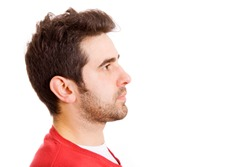 Man profile face over white background. Space to insert text.