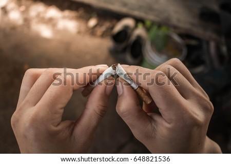 Man prohibit not to smoke, Concept stop smoking. #648821536