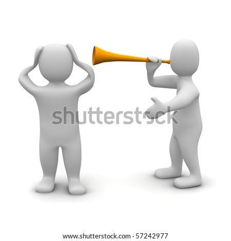 Man protecting his ears against vuvuzela noise. 3d rendered illustration.