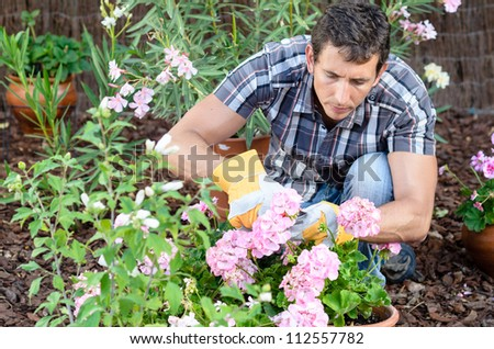 Man pruning flowers and gardening. Male home gardener leisure. Caucasian young model and plants.