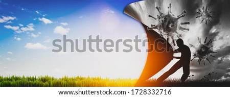 Man pulling the curtain up to a new better world after coronavirus COVID-19. 3D illustration Stock foto ©